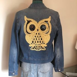 Adorable One of a Kind Embellished Owl Jean Jacket
